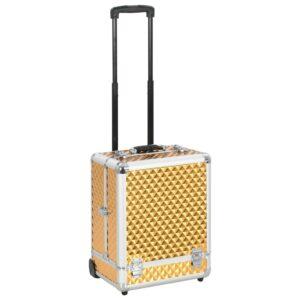 vidaXL makeupkuffert 35 x 29 x 45 cm aluminium guldfarvet