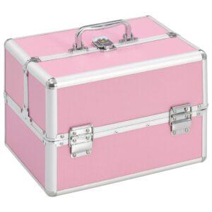 vidaXL makeupkuffert 22 x 30 x 21 cm pink aluminium