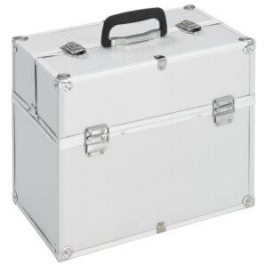 vidaXL makeupkuffert 37 x 24 x 35 cm sølvfarvet aluminium