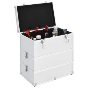 vidaXL makeupkuffert 37 x 24 x 40 cm sølvfarvet aluminium