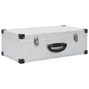vidaXL CD-kasse til 80 CD'er aluminium ABS sølvfarvet
