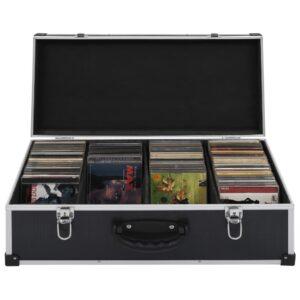 vidaXL CD-kasse til 80 CD'er aluminium ABS sort