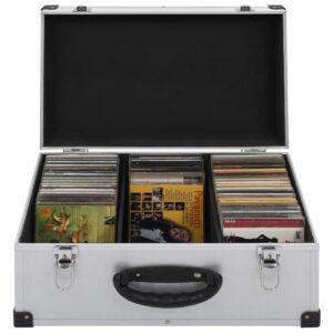 vidaXL CD-kasse til 60 CD'er aluminium ABS sølv