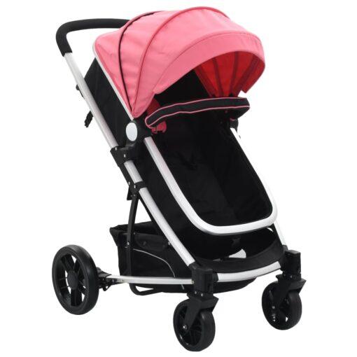 vidaXL 2-i-1 klapvogn/barnevogn aluminium pink og sort