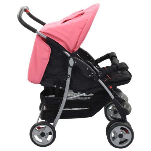 vidaXL tvillingeklapvogn stål pink og sort