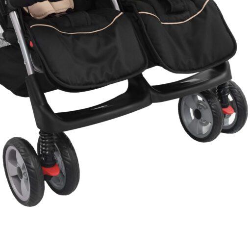 vidaXL tvillingeklapvogn stål gråbrun og sort