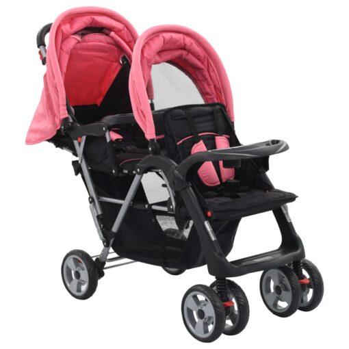 vidaXL tvillingklapvogn stål pink og sort