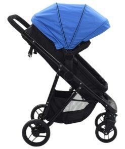 vidaXL 2-i-1 klapvogn/barnevogn stål blå og sort