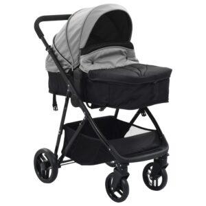 vidaXL 2-i-1 klapvogn/barnevogn stål grå og sort