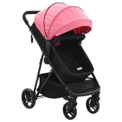 vidaXL 2-i-1 klapvogn/barnevogn stål pink og sort