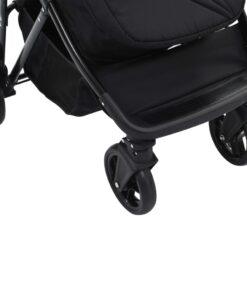 vidaXL 2-i-1 klapvogn/barnevogn stål gråbrun og sort