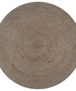 vidaXL håndlavet tæppe jute rund 150 cm grå