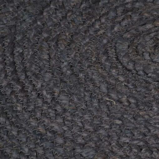 vidaXL håndlavet tæppe jute rund 150 cm mørkegrå