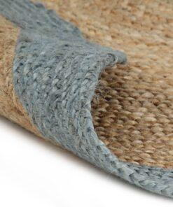 vidaXL håndlavet tæppe med olivengrøn kant jute 120 cm