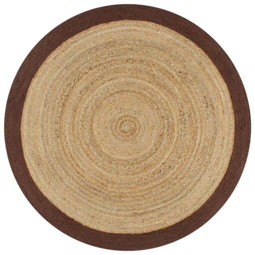 vidaXL håndlavet tæppe med brun kant jute 150 cm
