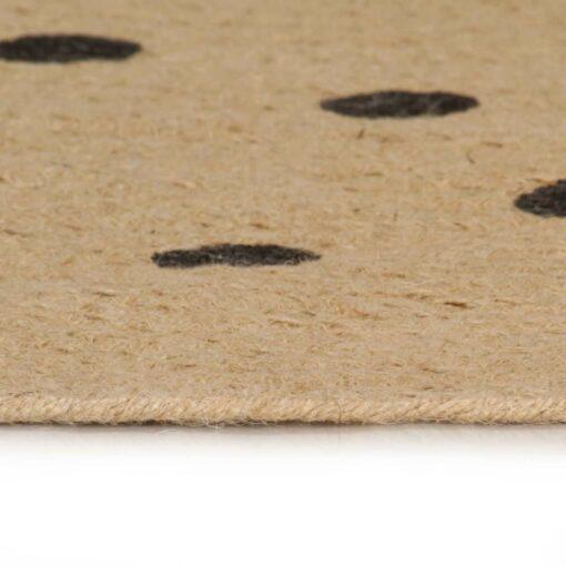 vidaXL håndlavet tæppe med polkaprikker jute 90 cm