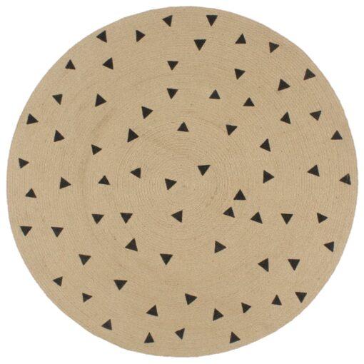 vidaXL håndlavet tæppe med trekantsprint jute 120 cm