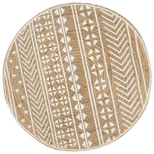 vidaXL håndlavet tæppe med hvidt print jute 90 cm