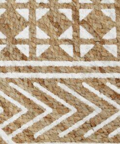 vidaXL håndlavet tæppe med hvidt print jute 150 cm