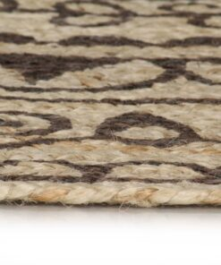 vidaXL håndlavet tæppe med mørkebrunt mønster jute 150 cm
