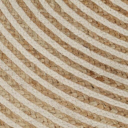 vidaXL håndlavet jutetæppe med spiralprint 150 cm hvid