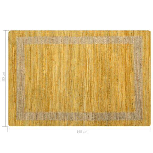 vidaXL håndlavet tæppe jute 120 x 180 cm gul