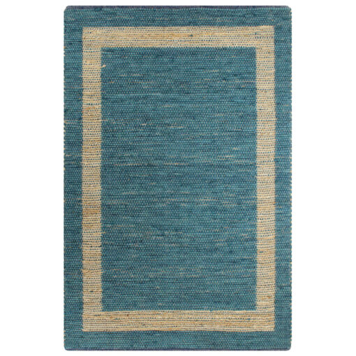 vidaXL håndlavet tæppe jute 80 x 160 cm blå