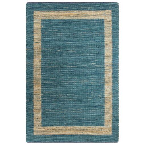 vidaXL håndlavet tæppe jute 120 x 180 cm blå