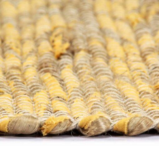 vidaXL håndlavet tæppe jute 120 x 180 cm gul og naturfarvet