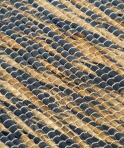 vidaXL håndlavet tæppe jute 160 x 230 cm blå og naturfarvet