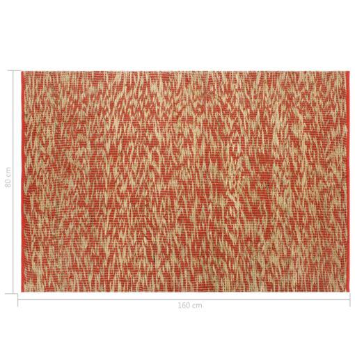 vidaXL håndlavet tæppe jute 80 x 160 cm rød og naturfarvet