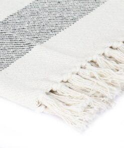 vidaXL plaid 160 x 210 cm stribet bomuld antracitgrå