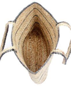 vidaXL shoppertaske håndlavet jute naturfarvet med mørkegrå striber