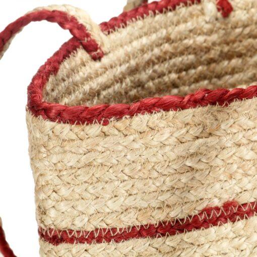 vidaXL shoppertaske håndlavet jute naturfarvet med rustrøde striber