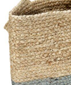 vidaXL shoppertaske håndlavet jute naturfarvet med olivengrøn bund