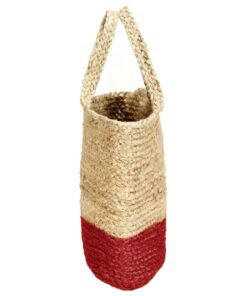 vidaXL shoppertaske håndlavet jute naturfarvet med rustrød bund