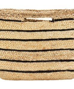 vidaXL shoppertaske håndlavet jute naturfarvet med sorte striber