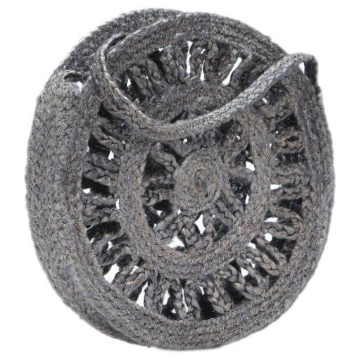 vidaXL rund skuldertaske hult design håndlavet jute mørkegrå