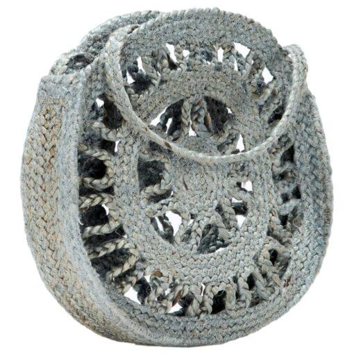 vidaXL rund skuldertaske hult design håndlavet jute olivengrøn