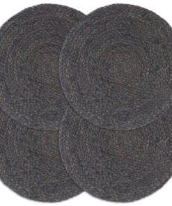 vidaXL dækkeservietter 4 stk. rund 38 cm jute mørkegrå