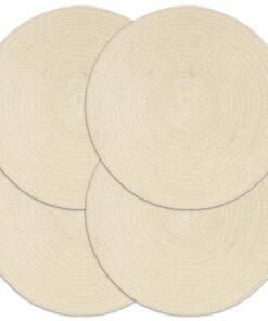 vidaXL dækkeservietter 4 stk. runde 38 cm bomuld naturfarvet