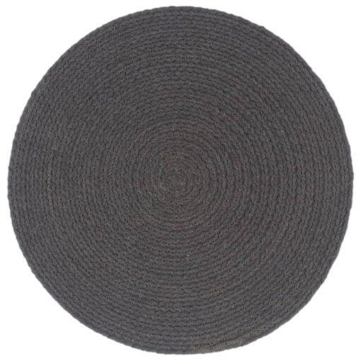 vidaXL dækkeservietter 4 stk. rund 38 cm bomuld mørkegrå