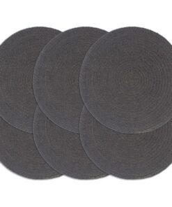vidaXL dækkeservietter 6 stk. rund 38 cm bomuld mørkegrå