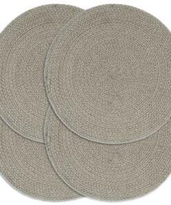 vidaXL dækkeservietter 4 stk. rund 38 cm bomuld grå