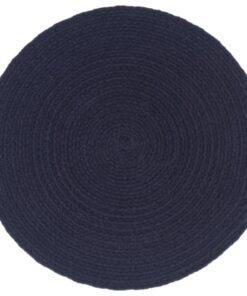 vidaXL dækkeservietter 6 stk. 38 cm rund bomuld marineblå