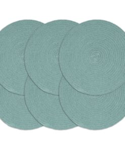 vidaXL dækkeservietter 6 stk. rund 38 cm bomuld grøn