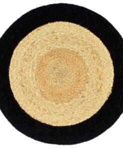 vidaXL dækkeservietter 4 stk. 38 cm jute og bomuld natur og sort