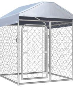 vidaXL udendørs hundeløbegård med tag 100x100x125 cm