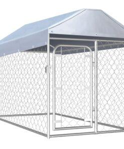 vidaXL udendørs hundeløbegård med tag 200x100x125 cm