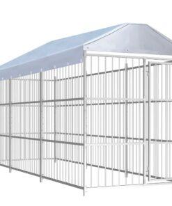 vidaXL udendørs hundebur med tag 450 x 150 cm
